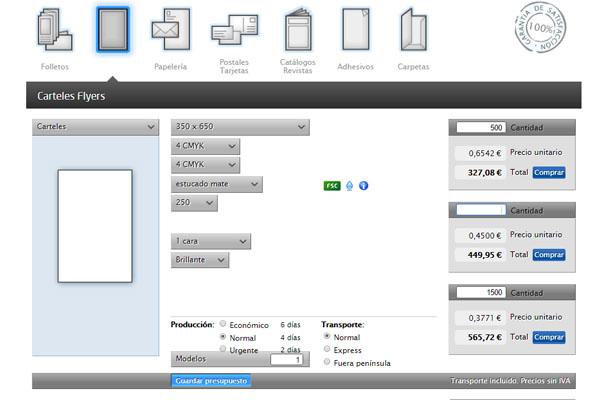 Imagen de la calculadora online de iGrafic.om para imprimir un cartele